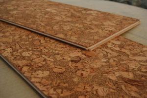 natural ec-friendly cork underlayment on floating floor