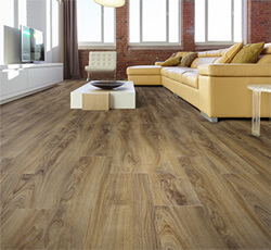 coretec flooring installation-living room-eco-friendly floor-floating floor system-wood-look plank
