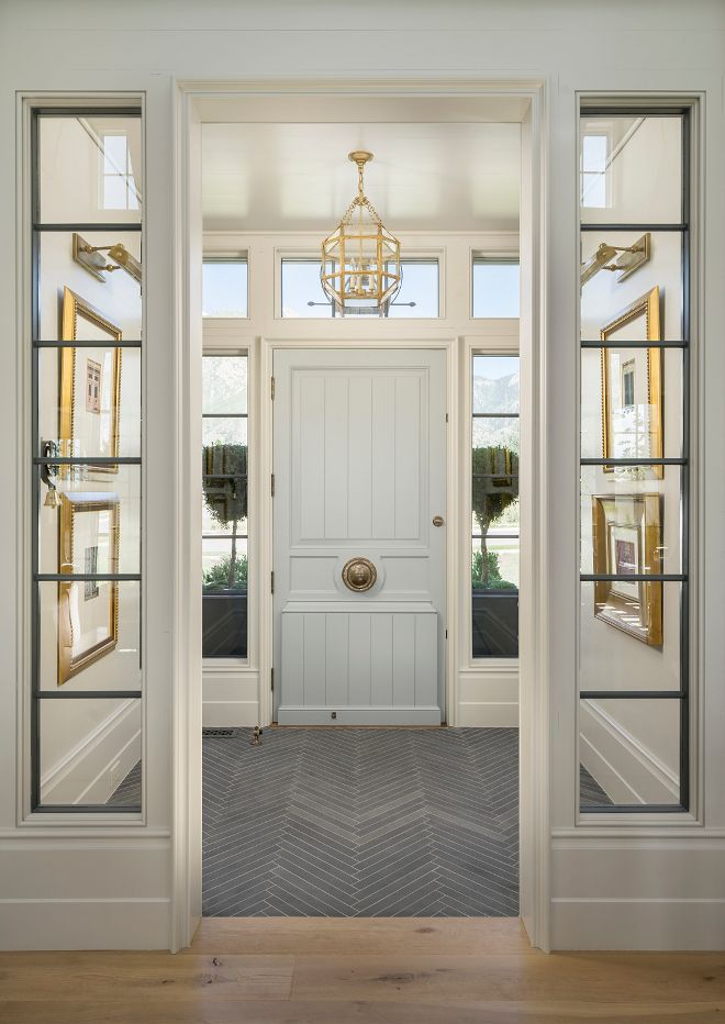 Entryway with Herringbone tile