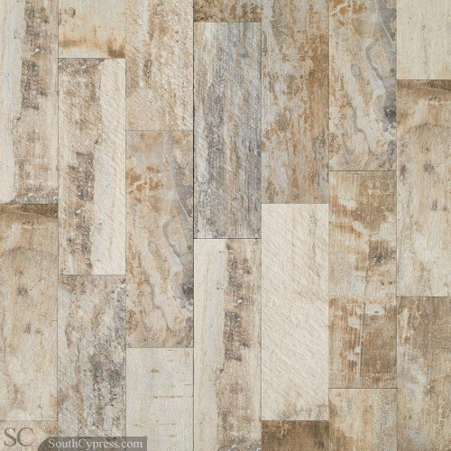 Ceramic vintage wood-look tile flooring