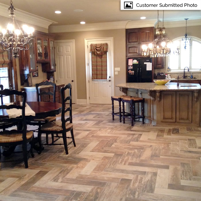 Ceramic tile flooring- Herringbone