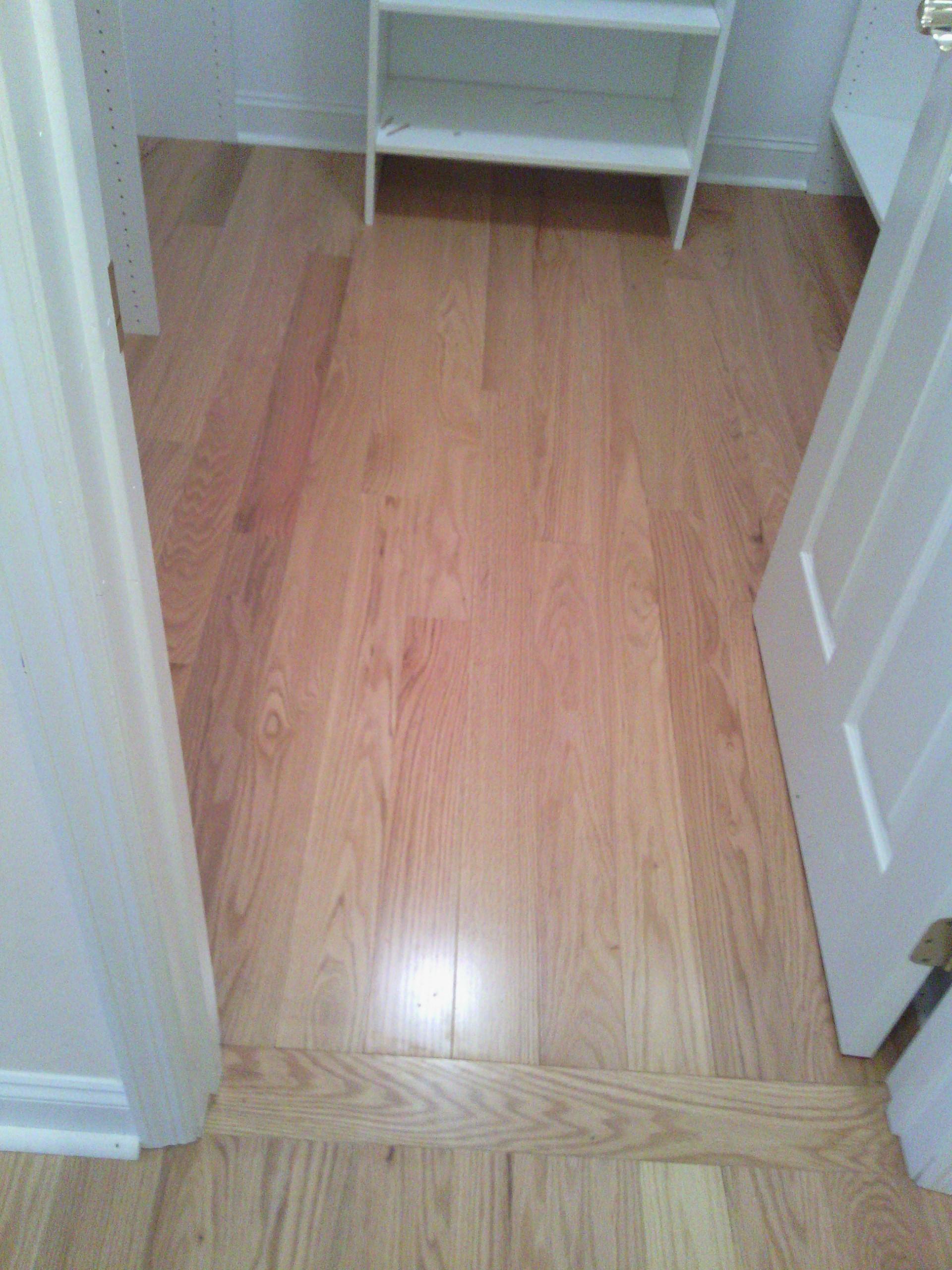 Pre-finished Red Oak hardwood flooring- flush transition