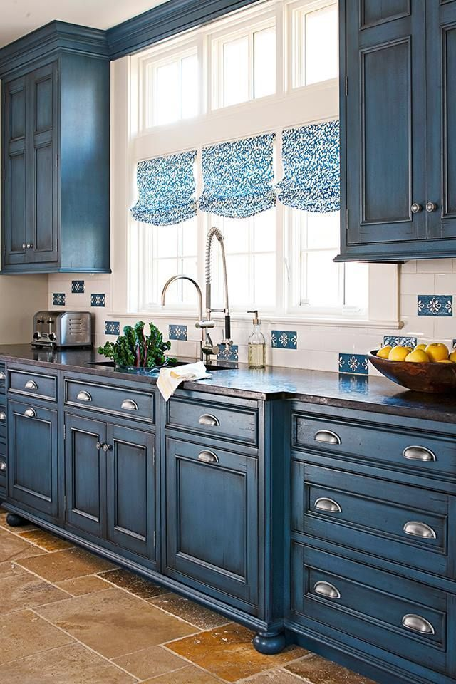 Painted kitchen cabinets blue
