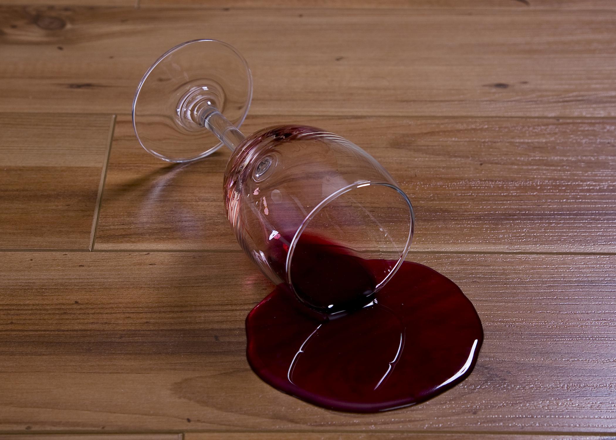 Red Wine Spill on hardwood flooring