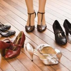 Shoes on hardwood flooring